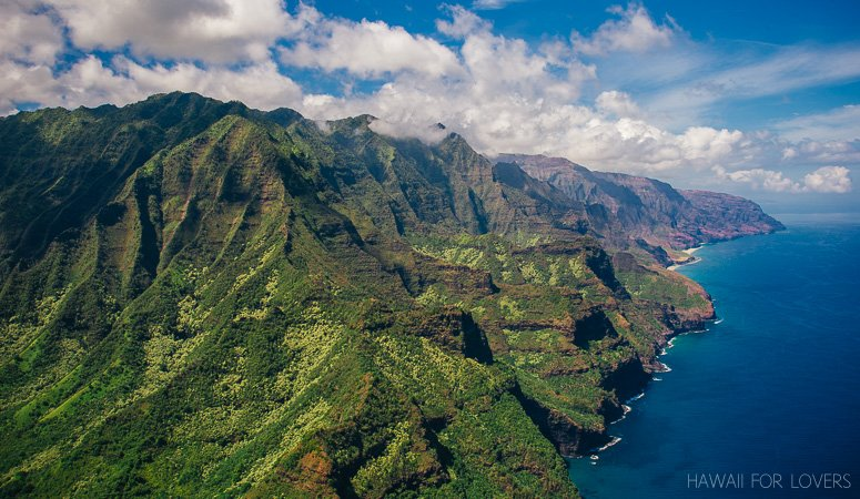 the na pali coast from the air is unreal