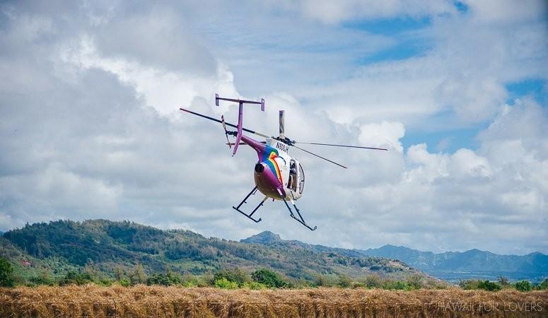 jack harter's helicopter taking off on kauai