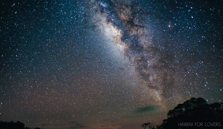The Milky Way rises high in the sky in summer